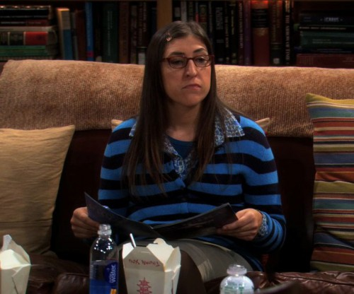 Amy's blue striped sweater on The Big Bang Theory