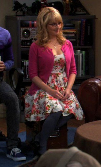 Bernadettes pink floral dress with cardigan on The Big Bang Theory