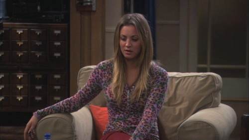 Penny's pink leopard print shirt on The Big Bang Theory