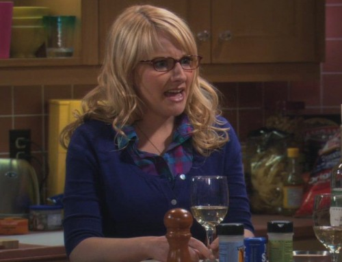 Bernadettes blue cardigan over plaid top on The Big Bang Theory