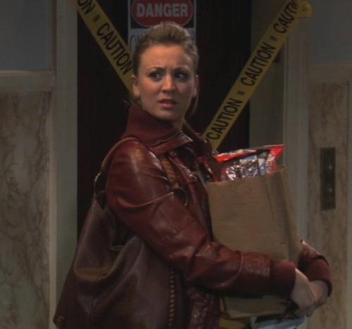 Pennys brown leather jacket and handbag