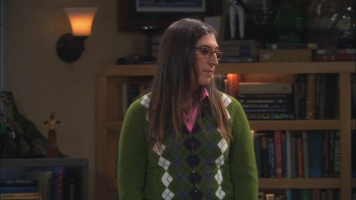 Amy's green check sweater on The Big Bang Theory