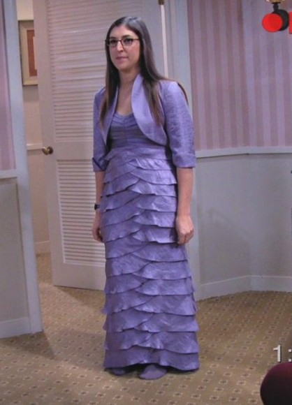 Amy's purple gown tried on at the store  on The Big Bang Theory