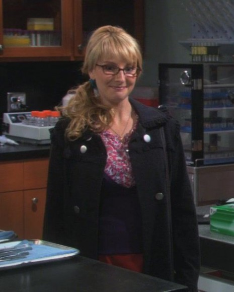 Bernadette's black coat with ruffle collar on The Big Bang Theory