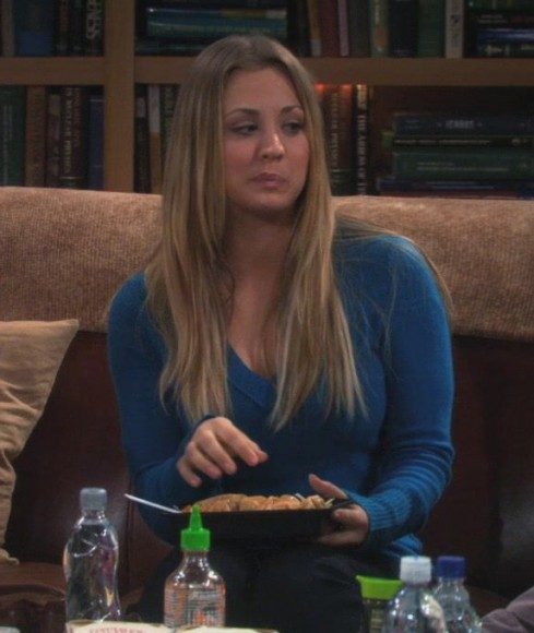 Penny's teal blue sweater on The Big Bang Theory