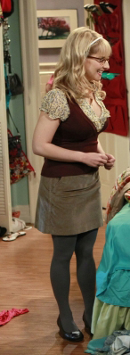 Bernadette's burgundy vest and beige skirt on The Big Bang Theory