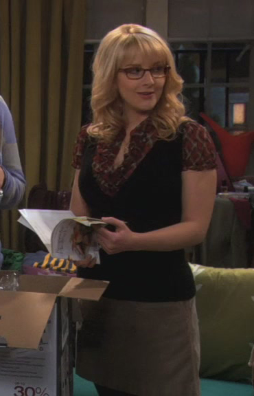 Bernadette's plaid ruffle shirt with black vest on The Big Bang Theory