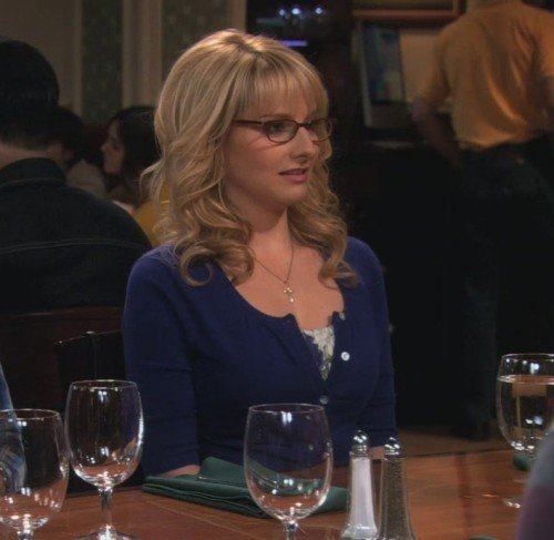 Bernadette's blue cardigan on The Big Bang Theory