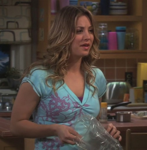 Penny's aqua/turquoise shirt with purple leaf print on The Big Bang Theory