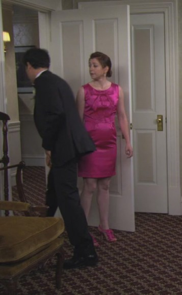 Lily's hot pink dress and frilly heels