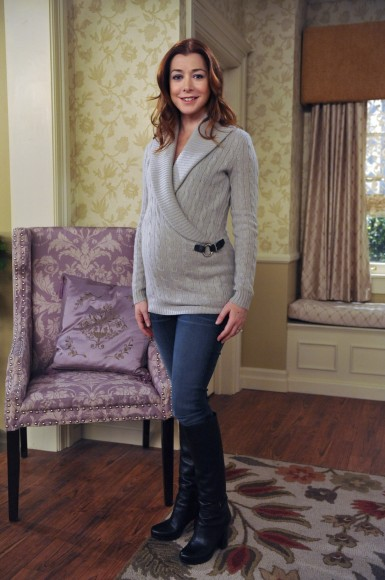 Lily's maternity knit wrap sweater with jeans