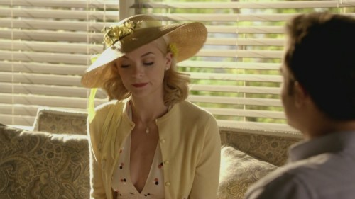 Lemons yellow cardigan and polka dot dress