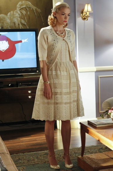 Lemon's lace stripe dress with cardigan on Hart of Dixie
