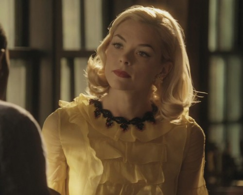 Lemon's yellow frill blouse with black necklace on Hart of Dixie