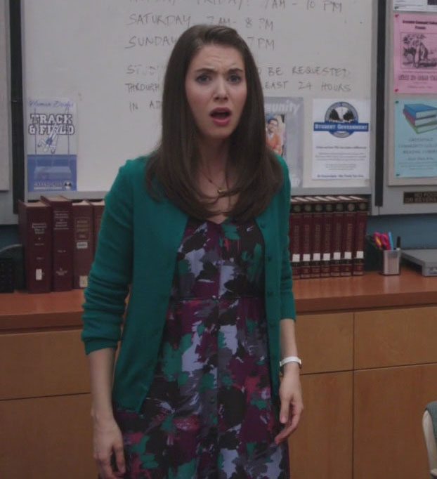 Annie's green cardigan and patterned dress from Community