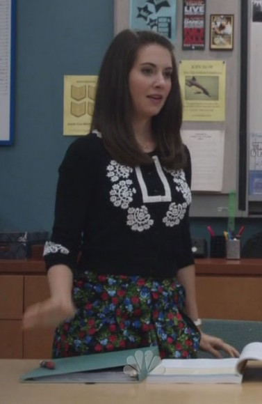Annie's floral skirt and black and white sweater