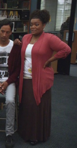 Shirley's red cardigan and brown maxi skirt