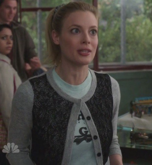 Britta's grey and lace cardigan on Community