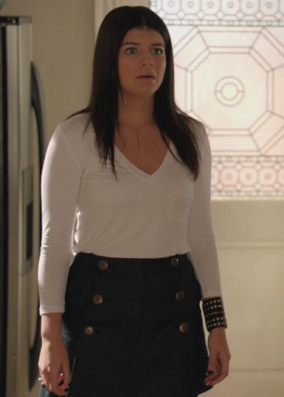Penny's button skirt and studded cuff on Happy Endings