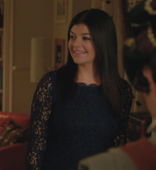 Penny's navy blue lace dress on Happy Endings
