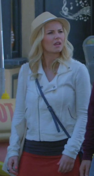 Alex's white jacket, red skirt and hat on Happy Endings