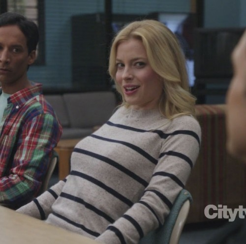 Britta's grey and blue striped sweater on Community