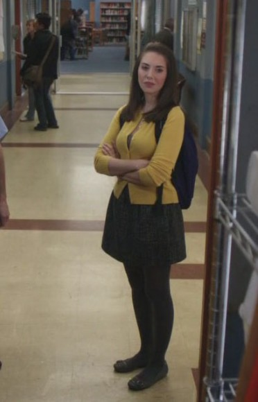 Annies grey dress and yellow cardigan