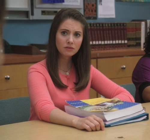 Annie's bright pink cardigan on Community