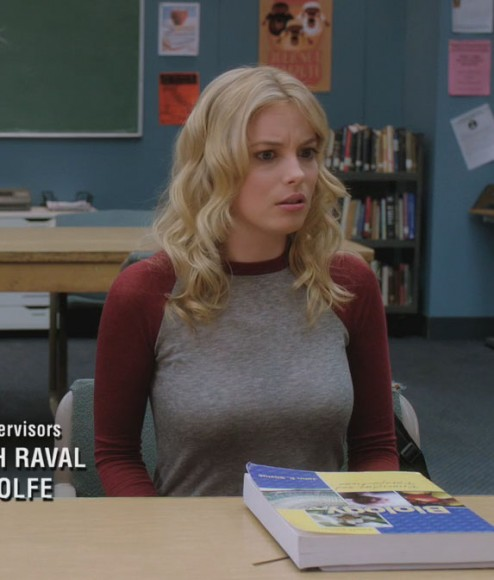 Britta's maroon sleeve shirt on Community