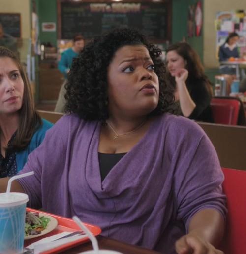 Shirley's purple loose blouse on Community