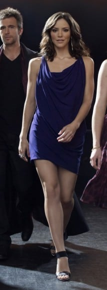 Karen's purple cowl neck mini dress