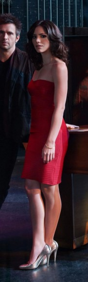 Karens red strapless dress with gold shoes