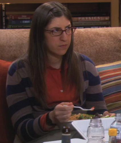 Amy's blue striped cardigan on The Big Bang Theory