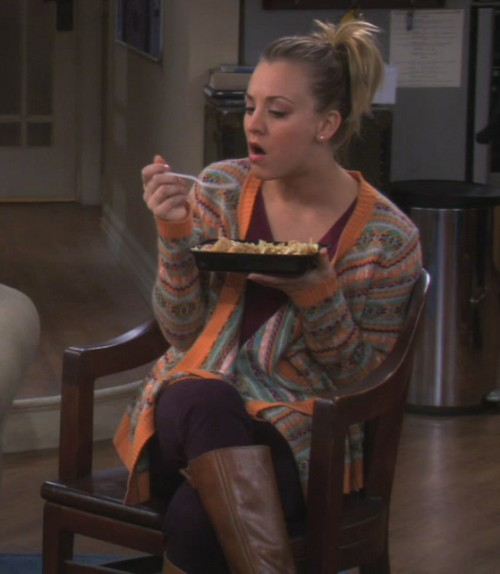 Penny's orange striped cardigan on The Big Bang Theory