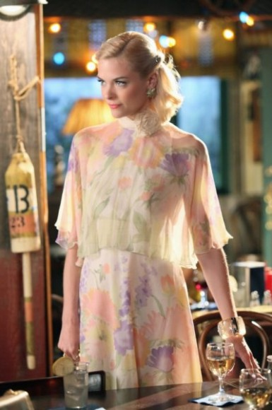 Lemon's sheer floral cape and dress on Hart of Dixie