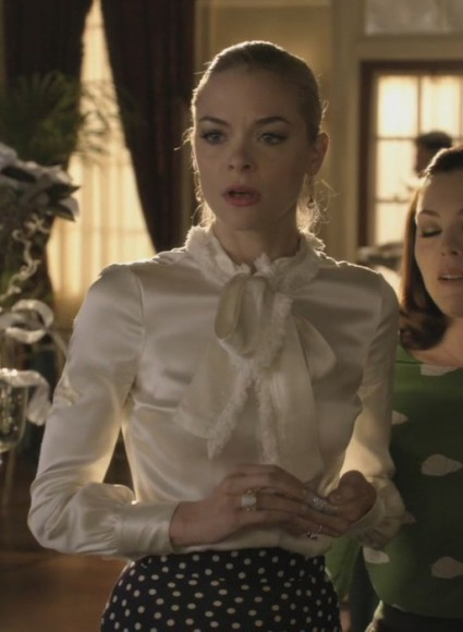 Lemon's silky white blouse with fur lined bow and polka dot skirt  on Hart of Dixie