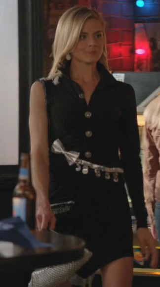 Jane's black silver bow dress on Happy Endings