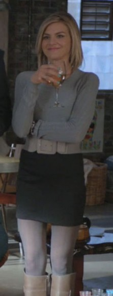 Janes grey sweater and charcoal mini skirt