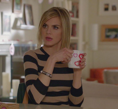 Jane's tan and black striped sweater on Happy Endings