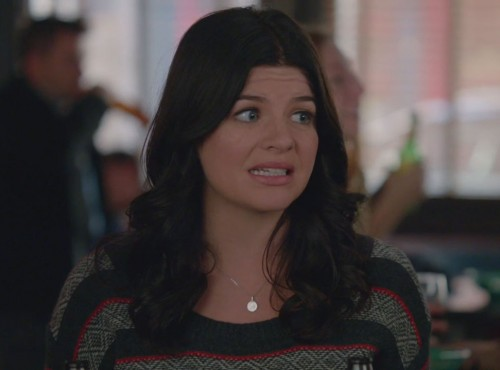 Penny's dark grey and red striped sweater on Happy Endings