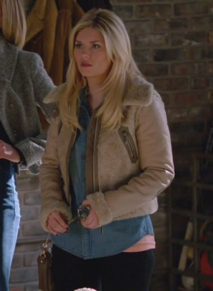 Alex's wool collared jacket on Happy Endings