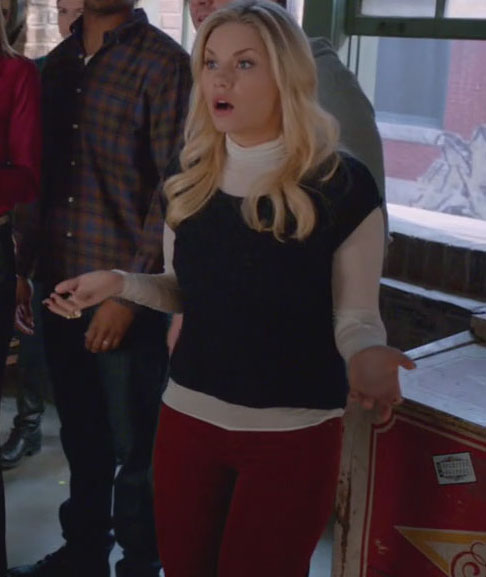 Alex's red pants with white turtleneck top
