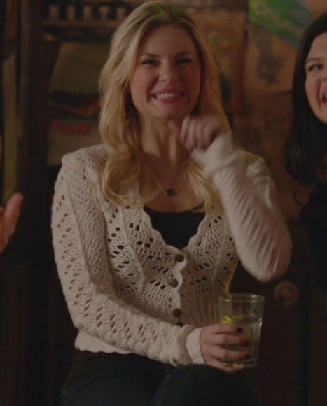 Alex's white knit cardigan on Happy Endings