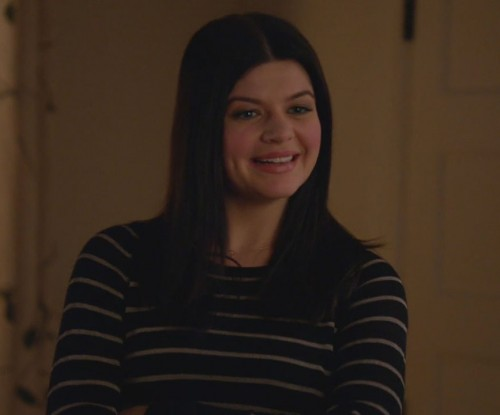 Penny's black sweater with thin white stripes on Happy Endings