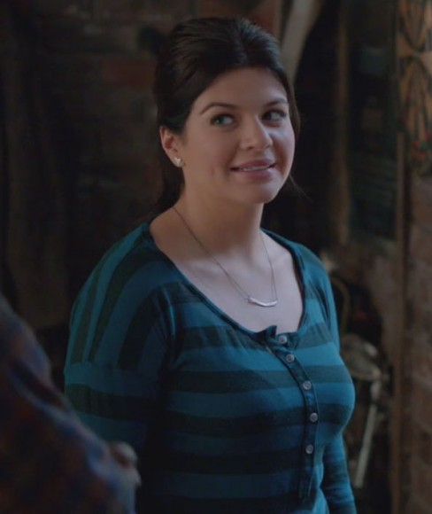 Jane's teal and turquoise striped top on Happy Endings