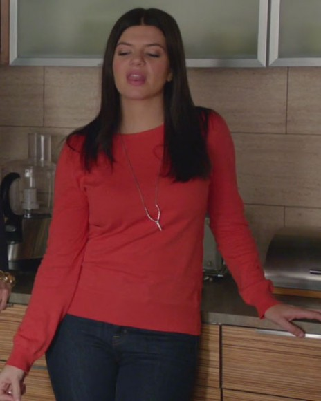 Penny's red long sleeve top and wishbone necklace on Happy Endings
