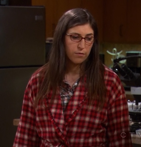 Amy's red check robe on The Big Bang Theory