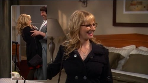 Bernadette's black coat with silver buttons on BBT