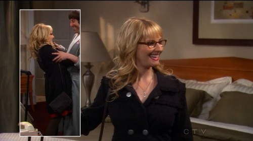 Bernadette's black coat with silver buttons and ruffles on The Big Bang Theory