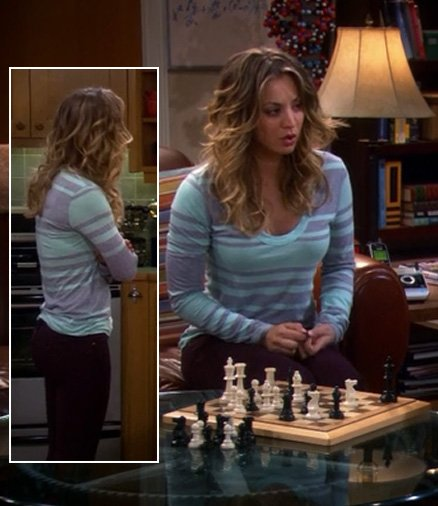 Penny's blue and purple striped top on BBT